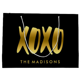 XOXO Hugs and Kisses Faux Gold Typography Black Large Gift Bag