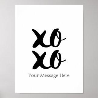 XOXO Hugs and Kisses Romantic Quote Wall Art Poster