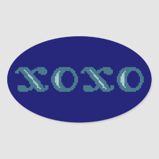 XOXO Hugs and Kisses Oval Stickers