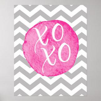 """XOXO"" Hugs & Kisses Chevron Pink Poster"