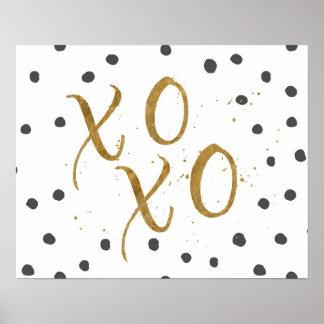 """XOXO"" Hugs & Kisses Faux Gold Dot Poster"