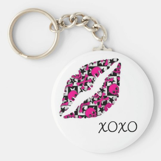 XOXO Kiss Basic Round Button Key Ring