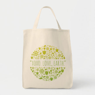 """XOXO. Love, Earth."" Happy Earth Reusable Grocery Tote Bag"