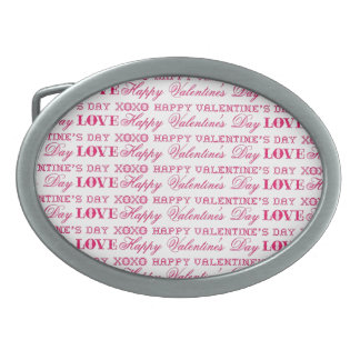 XOXO Love Happy Valentine's Day Pink Red Gifts Oval Belt Buckles