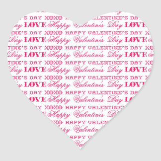 XOXO Love Happy Valentine's Day Pink Red Gifts Heart Stickers