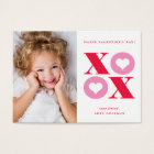 XOXO modern photo classroom valentines day card