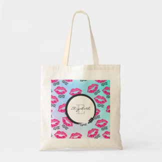 XOXO Pattern with Pink Kissy Lips with Monogram