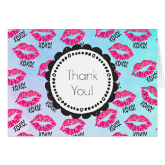 XOXO! Pattern with Sexy Pink Kissy Lips Thank You Card