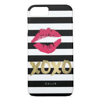 XOXO Pink Lip Print Black & White Stripe iPhone 7 Case
