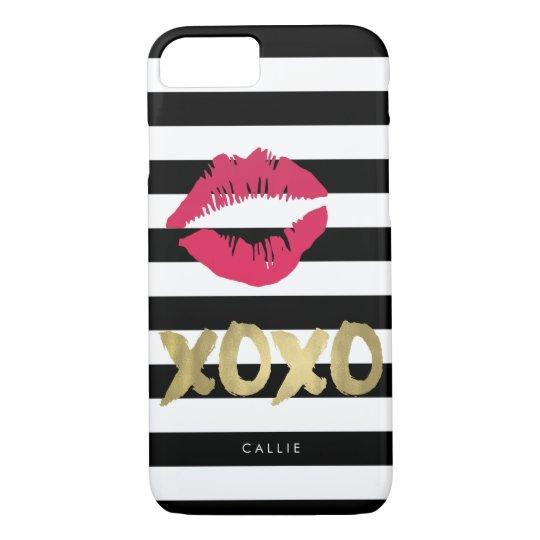 XOXO Pink Lip Print Black & White Stripe