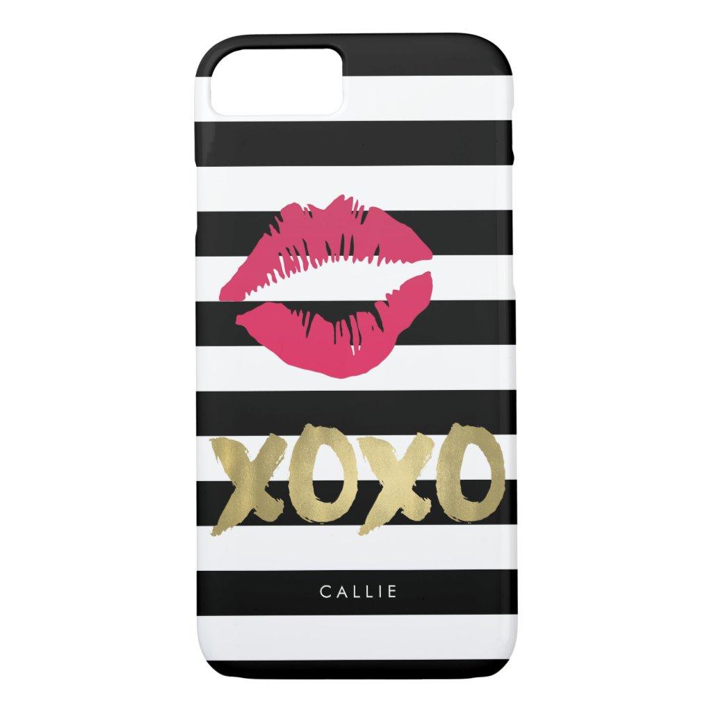 XOXO Pink Lip Print Black & White Stripe iPhone 8 case