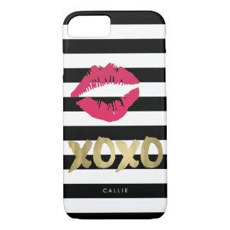 XOXO Pink Lip Print Black & White Stripe iPhone 8/7 Case