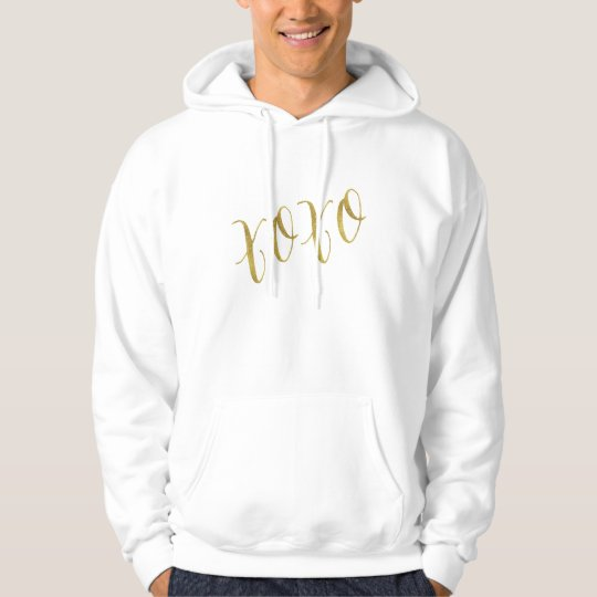 XOXO Quote Faux Gold Foil Glitter Background Hoodie