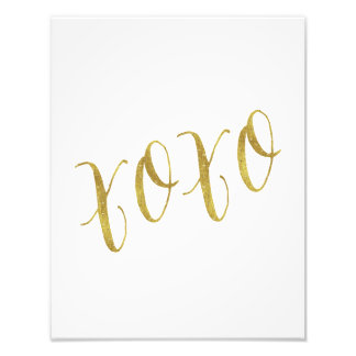 XOXO Quote Faux Gold Glitter Background Template Photo Print