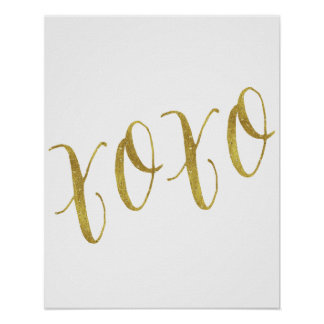 XOXO Quote Faux Gold Glitter Background Template Poster