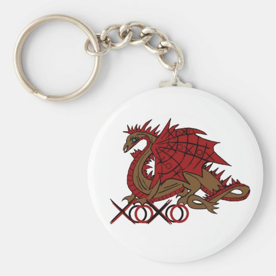 XOXO red and brown dragon Basic Round Button Key Ring
