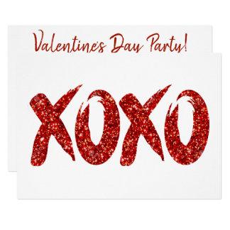 XOXO Red Glitter | Glam Brushstroke Hug and Kisses Card