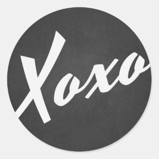XOXO Rustic Chalkboard | Valentine's Day Sticker Round Sticker