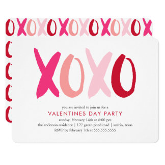 """""""XOXO"""" Valentines Day Party Card"""