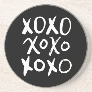 XOXO | White Brush Script Coaster