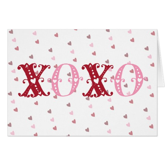 XOXO With Hearts Card