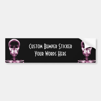 XRAY SKELETON SKULL PINK CAR BUMPER STICKER