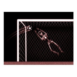 XRAY SKELETON SOCCER GOALIE RED POSTCARD