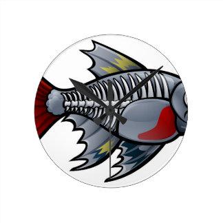 XRay Tetra Fish Cartoon Character Round Clock