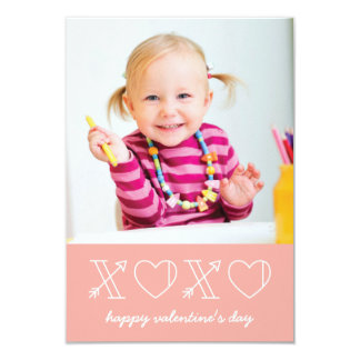 Xs & Os Classroom Valentine - Peach 9 Cm X 13 Cm Invitation Card