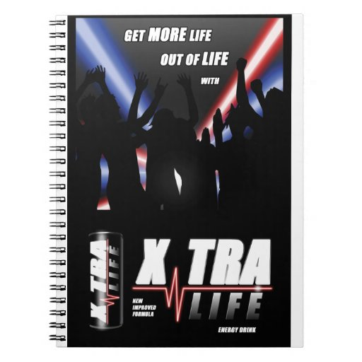 Xtra-Life Energy Drink binder notebook
