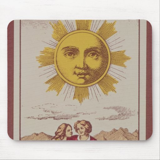 XVIIII Le Soleil, French tarot card of the Sun Mouse Pads