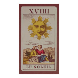 XVIIII Le Soleil, French tarot card of the Sun Poster