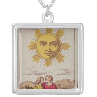 XVIIII Le Soleil, French tarot card of the Sun Silver Plated Necklace
