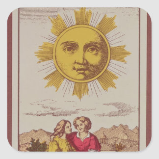 XVIIII Le Soleil, French tarot card of the Sun Square Sticker