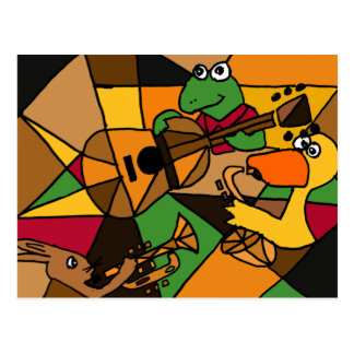XX- Abstract Art Animals and Music Postcard