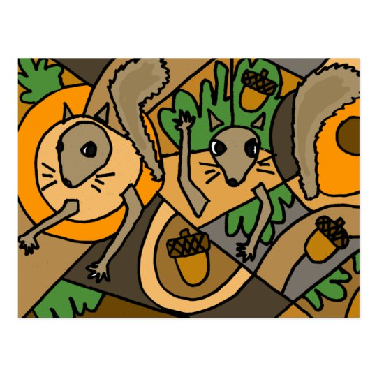 XX- Abstract Art Squirrels Postcard