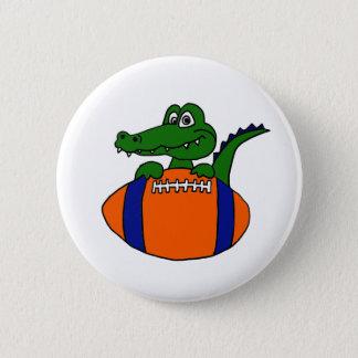 XX- Awesome Gator on a Football Cartoon 6 Cm Round Badge