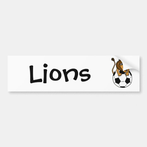 XX- Awesome Lion on a Soccer ball Art Bumper Stickers