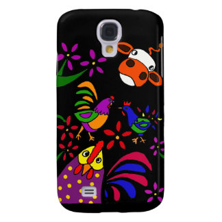 XX- Awesome Roosters and Cow Folk Art Cartoon Galaxy S4 Case