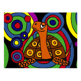 XX- Awesome Turtle Abstract Art Postcard