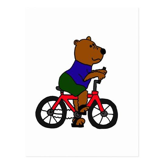 XX- Bear Bicycling Cartoon Postcard