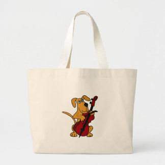 XX- Brown Puppy Dog Playing the Cello Large Tote Bag