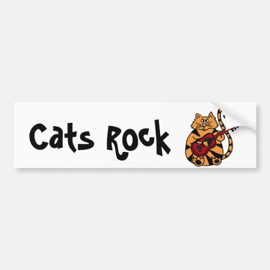 XX- Cat Playing Guitar Design Bumper Sticker