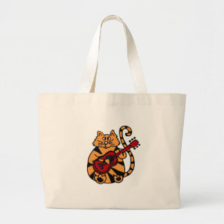 XX- Cat Playing Guitar Design Large Tote Bag