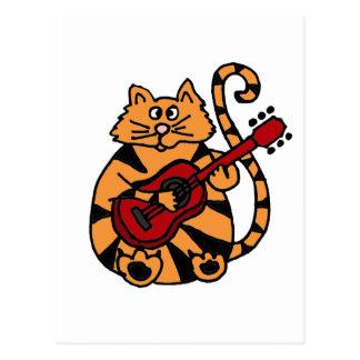 XX- Cat Playing Guitar Design Postcard