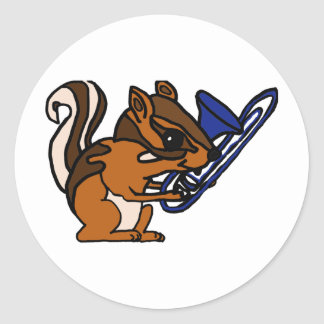 XX- Chipmunk Playing Trombone Cartoon Classic Round Sticker