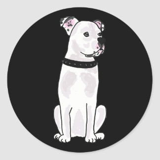 XX- Cute American Bulldog with Studded Collar Round Sticker