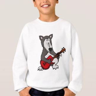 XX- Cute Wolf Playing Electric Guitar Cartoon Sweatshirt