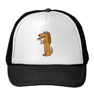 XX- Dog Eating Obama hotdog Cartoon Mesh Hat