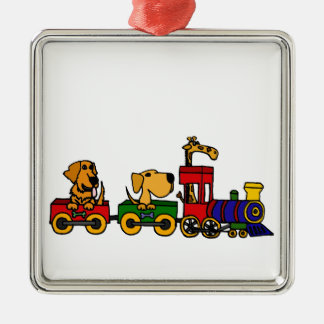 XX- Dogs on a Train Cartoon Christmas Ornament